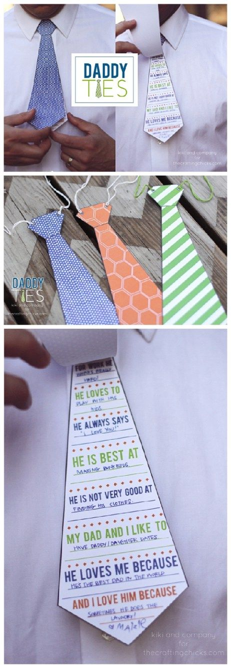 Fathers Day Cards FREE Printables - Daddy and Grandpa Ties - Cute Questionnaire for the Kids to Fill out for Dad this year from kiki and company