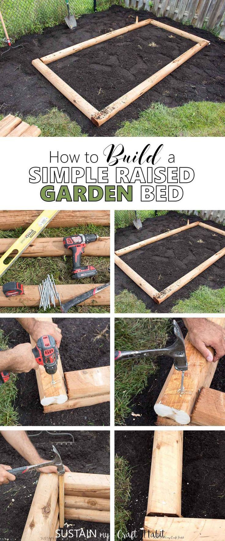 Grow vegetables in your own backyard! Simple tutorial to build an easy raised garden bed with mini railway ties. Perfect for small yards!