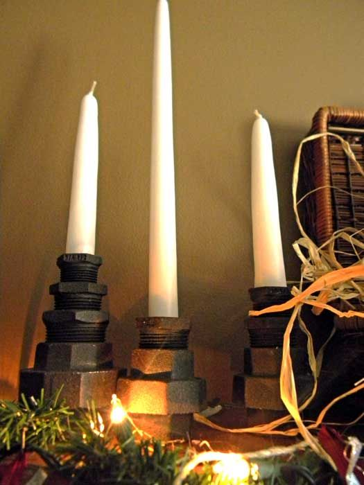 Homemade industrial candle holders