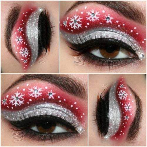 Artistic red and silver eye shadow with crystal accented snowflakes.