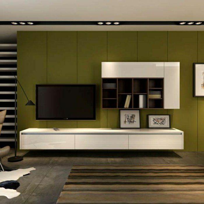 meuble tv ikea blanc, mur coloré, étagère murale en bois, cube de rangement, mur vert