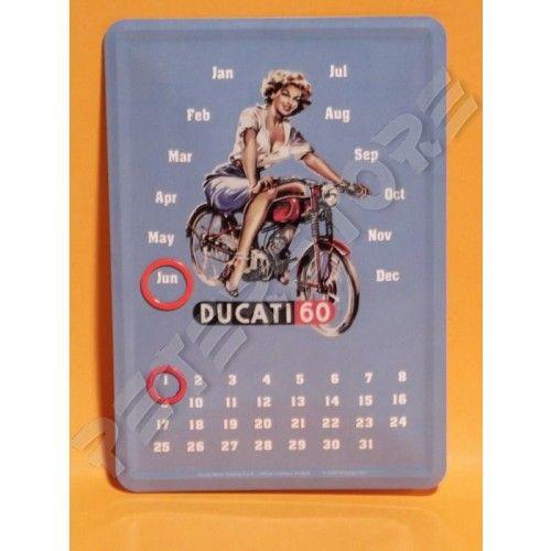 Retró Fém Asztali Öröknaptár - Ducati 60 - Fém képeslapok - PeterStore Webáruház - Exkluzív Ajándékok És Szobrok, Egyedi Különleges Dísztárgyak, Kerti Díszek