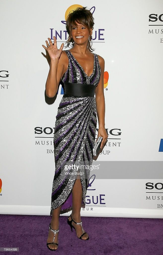 Singer Whitney Houston arrives at the Legendary Clive Davis Pre-Grammy Party held at the Beverly Hilton Hotel on February 9, 2008 in Beverly Hills, California.