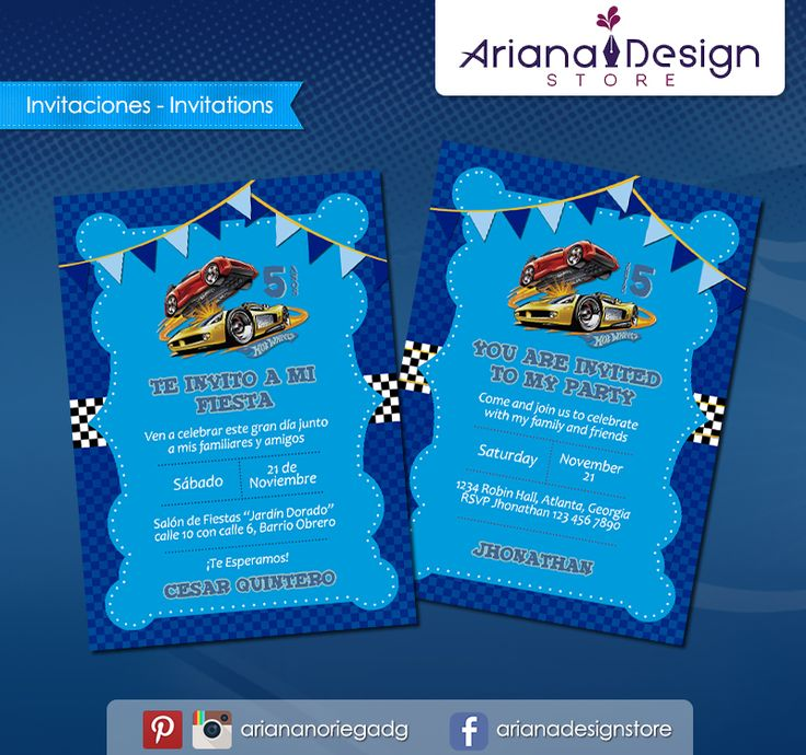 #printable #invitation #hotwheels #racing #arianadesignstore #invitacion #fiestainfantil #cumpleaños