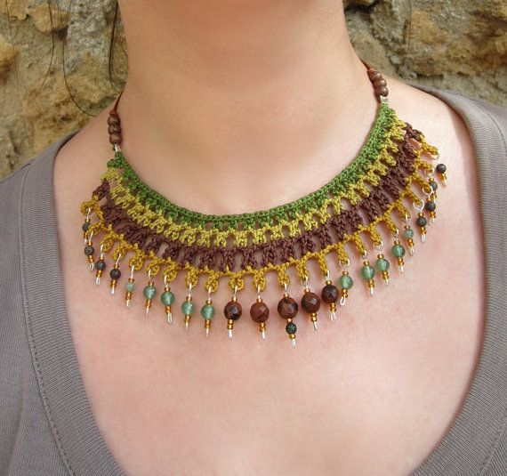 THIS ITEM IS RESERVED, PLEASE DONT BUY IT. THANKS! :)    A fiber crochet collar in fine cotton yarn with semiprecious stones pendants and brass beads inserts.    Adjustable clasp.    One of a kind
