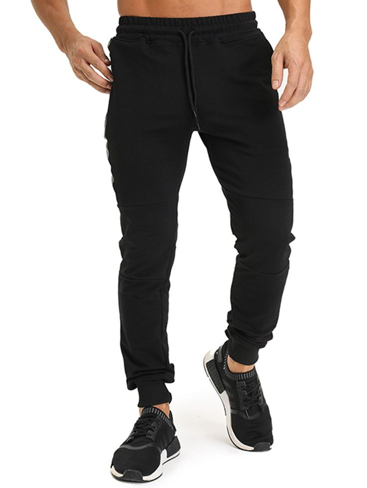 Cheap on Sale only 28$,buy Black Cotton Mens Jogger Pants in online worldwide Store.Wide selection of Activewear.All time on Sale!