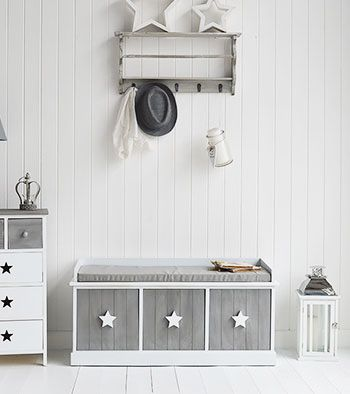 Grey and white Star Cottage bench with drawers. Childrens bedroom furniture from The White Lighthouse