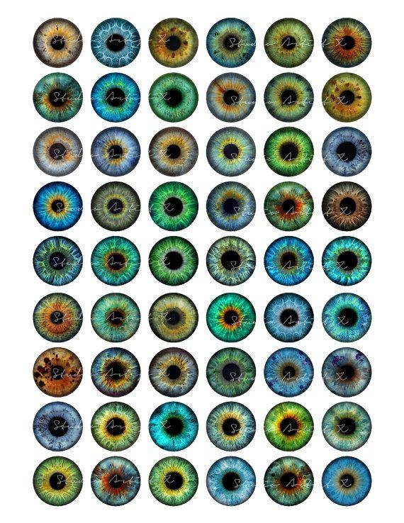 Eyes eyeball 1 inch circles for Pendants by StudioArtistX on Etsy