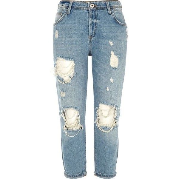 River Island Petite mid blue Ashley ripped boyfriend jeans ($90) ❤ liked on Polyvore featuring jeans, blue, boyfriend / slouch jeans, women, tall boyfriend jeans, slouchy boyfriend jeans, blue jeans, destroyed boyfriend jeans and ripped boyfriend jeans