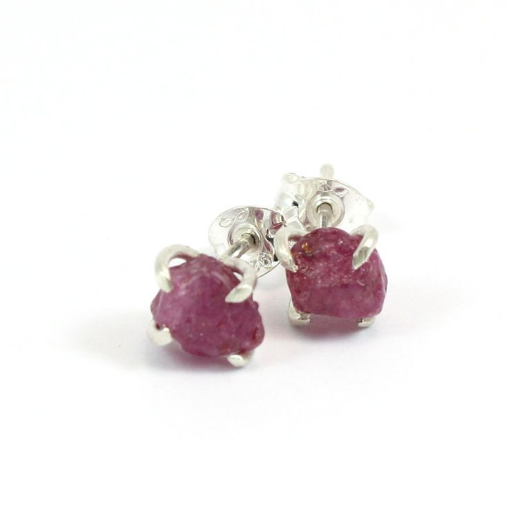 Pretty Birds Creations - Raspberry Sapphire Studs.  Rough raw natural pink sapphires set in sterling silver claw setting.