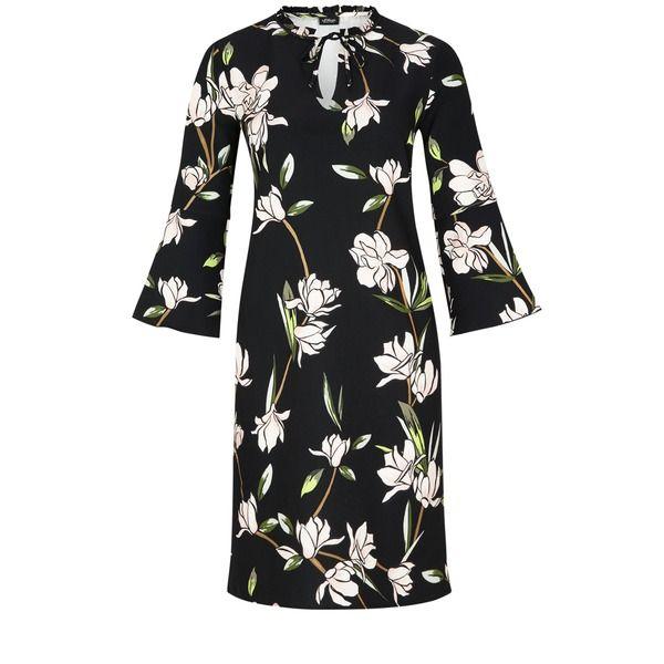 Winter Floral Dress // s.Oliver Stretchkleid im Asia-Look schwarz unterlegter Blumen-Print allover, gerüschter Ausschnitt mit Schnür-Detail, ausgestellte Ärmel in 3/4-Länge, antaillierte Passform; Rückenlänge bei Größe 36 ca. 97 cm, glatte, elastische Textil-Qualität;