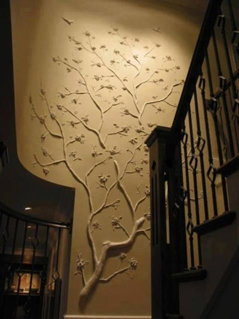 Secure Branches To Wall In Desired Shape And Paint To Match Wall Color