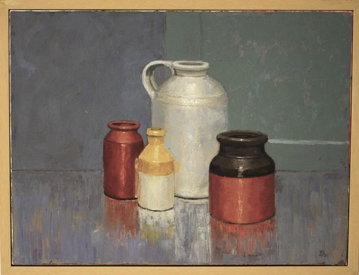 Still Life - Large Jug with Three Vases, by Don Macfarlane Oil on canvas, 63 x 49.5 x 4cm (framed)  #painting #oilpainting #stilllife #fineart #donmacfarlane #atelier451 #ormond