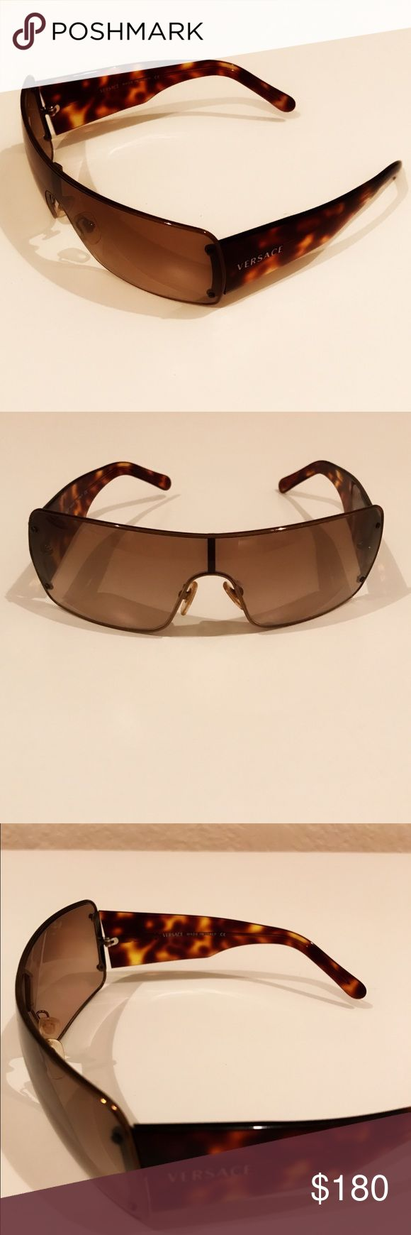 Retro Versace Sunglasses Versace Sunglasses -- they were my mom's from many years ago but they're in excellent condition. Bronze-brown shades in shield style, tortoise shell arms. Authentic, retro, vintage, hipster, classic. Versace Accessories Sunglasses