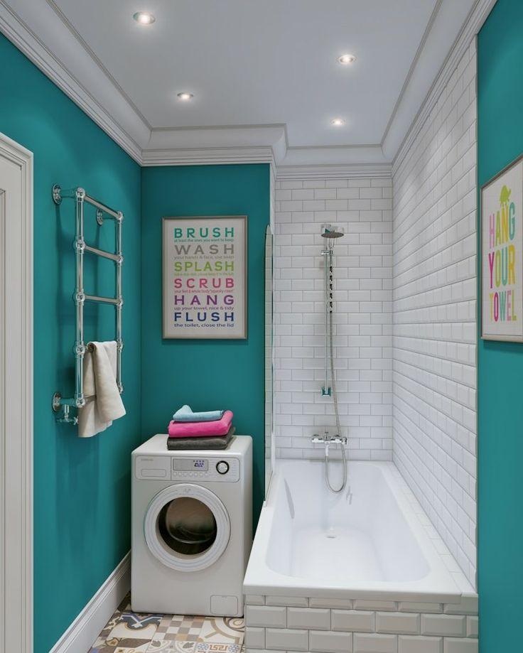 couleur salle de bains - duo remarquable de bleu turquoise et carrelage mural métro en blanc