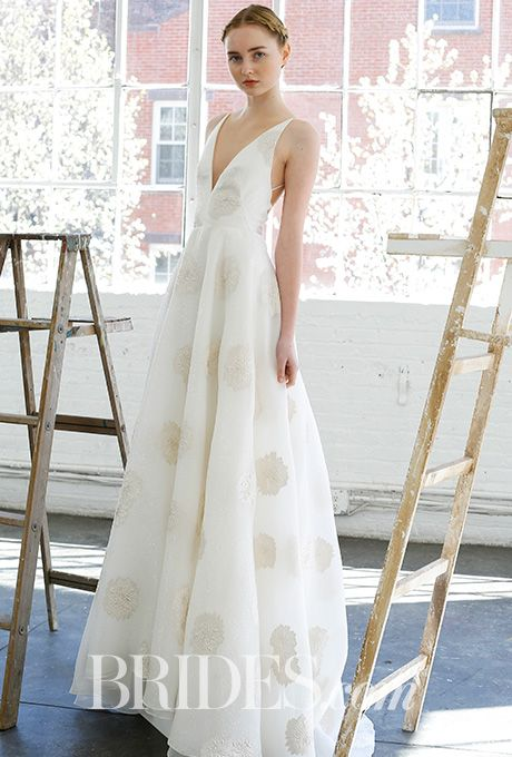 """Brides.com: . """"The Altar"""" placement embroidered tulle wedding dress with ballerina bodice, Lela Rose"""
