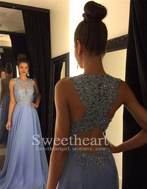 Modest prom dress long, unique long prom dress, light blue prom dress for teens, backless long prom dress, purple prom dress 2016