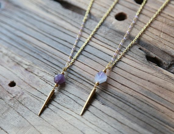 Amethyst nugget and gold-plated spike necklace by Rosehip Jewelry