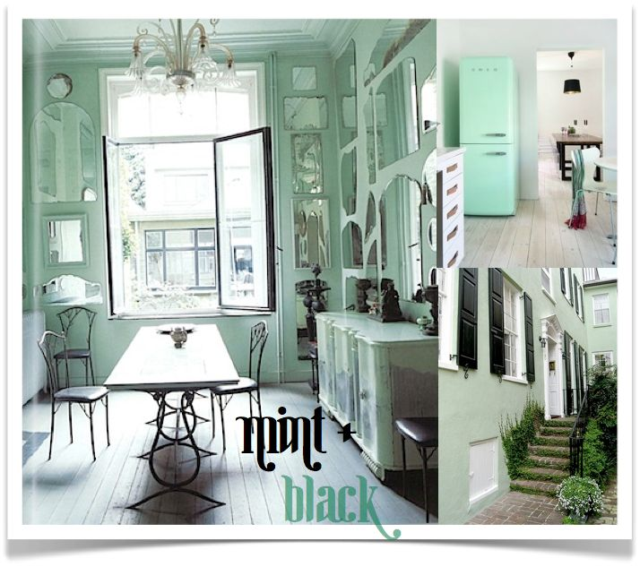 10 Rooms: Move Over Turquoise, There's A New Girl In Town! ~ Mint and black for my apartments living room and carried into the bedroom! <3