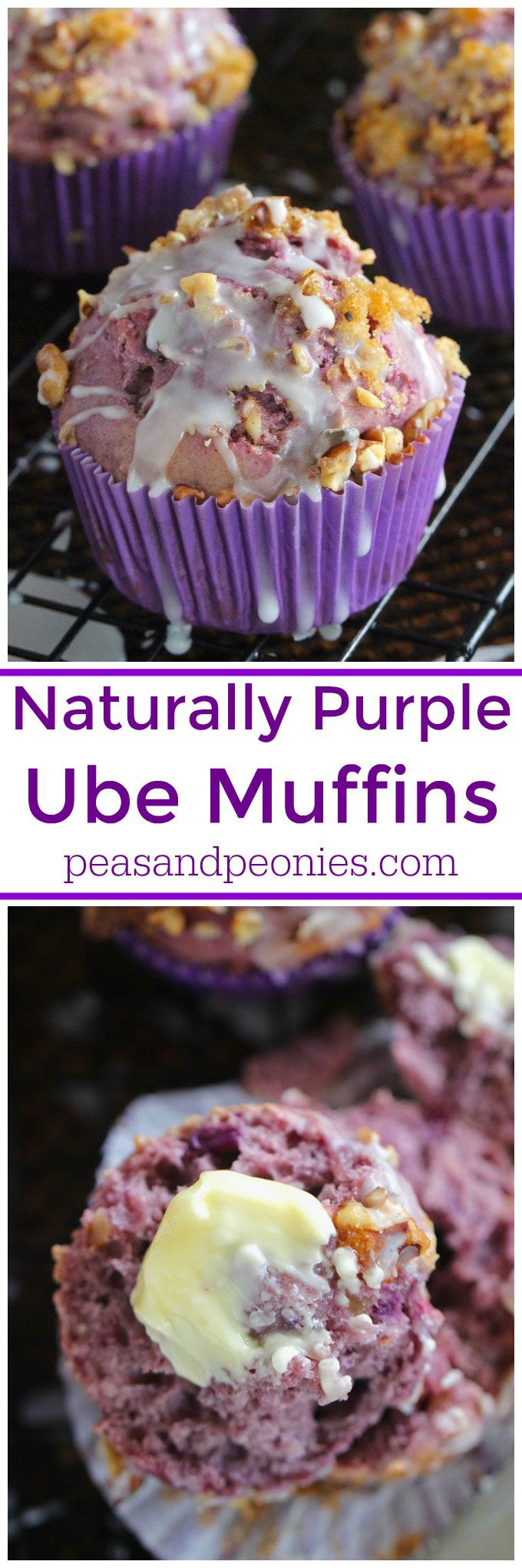 Ube muffins or Purple Yam muffins, are insanely delicious and naturally purple. Topped with toasted walnuts and brown sugar these are fun to make and fun to eat.