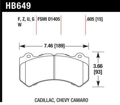 Hawk 2009-2014 Cadillac CTS-V/ 2012-2014 Chevrolet Camaro ZL1/ 2012-2013 Jeep Grand Cherokee (WK2) SRT8 DTC-30 Front Race Brake Pads