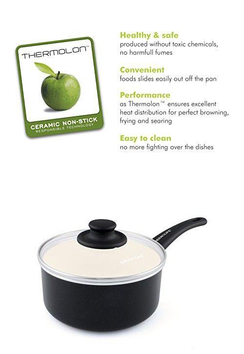 GreenLife Soft Grip Ceramic Non-Stick 3qt Covered Saucepan, Black