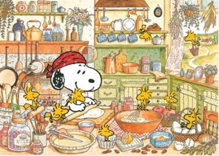 Snoopy and Woodstock baking