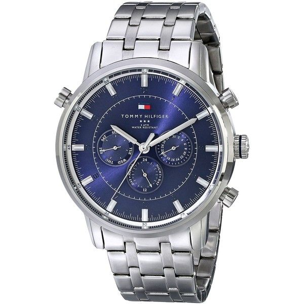 Men's Multifunction Dress Watch by Tommy Hilfiger. 44mm Stainless Steel Case and Band, Navy Blue Dial, Date Display and a Water Resistance of up to 50 Meters.