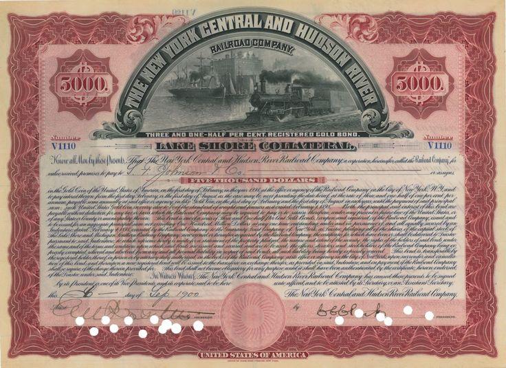 The New York Central and Hudson River Railroad Co. - #scripomarket #scriposigns #scripofilia #scripophily #finanza #finance #collezionismo #collectibles #arte #art #scripoart #scripoarte #borsa #stock #azioni #bonds #obbligazioni