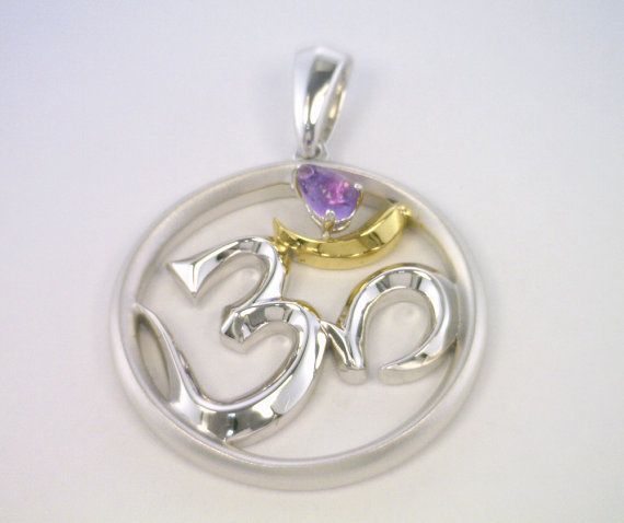Silver OM Necklace with Gold Plating  & Pear Shape Amethyst