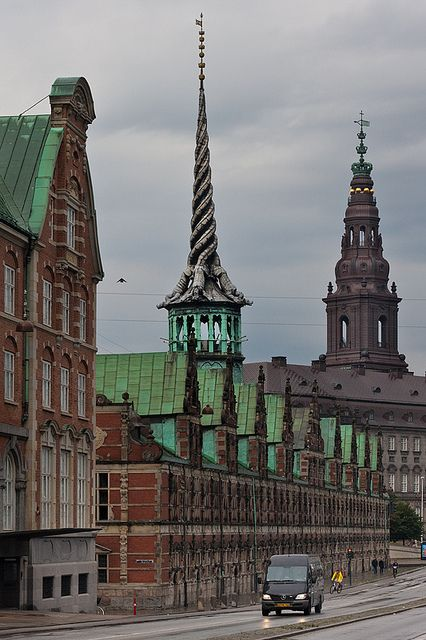 The old stock exchange with its amazing tower. 4 dragon's tails intertwined - Copenhagen, Denmark