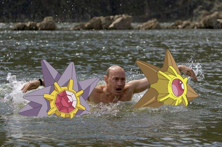 Putin—#TBT to when everyone endlessly mocked Putin's shirtless pics, but clearly he was just trying to double fist a Staryu and a Starmie.