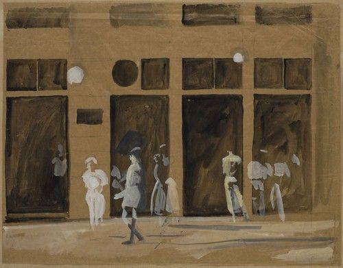 Yannis Tsarouchis, study, Καφενείο Μαυροκέφαλου, 1971. Λάδι σε πανί. 72,5 x 99,5 εκ. (Ίδρυμα Γιάννη Τσαρούχη)