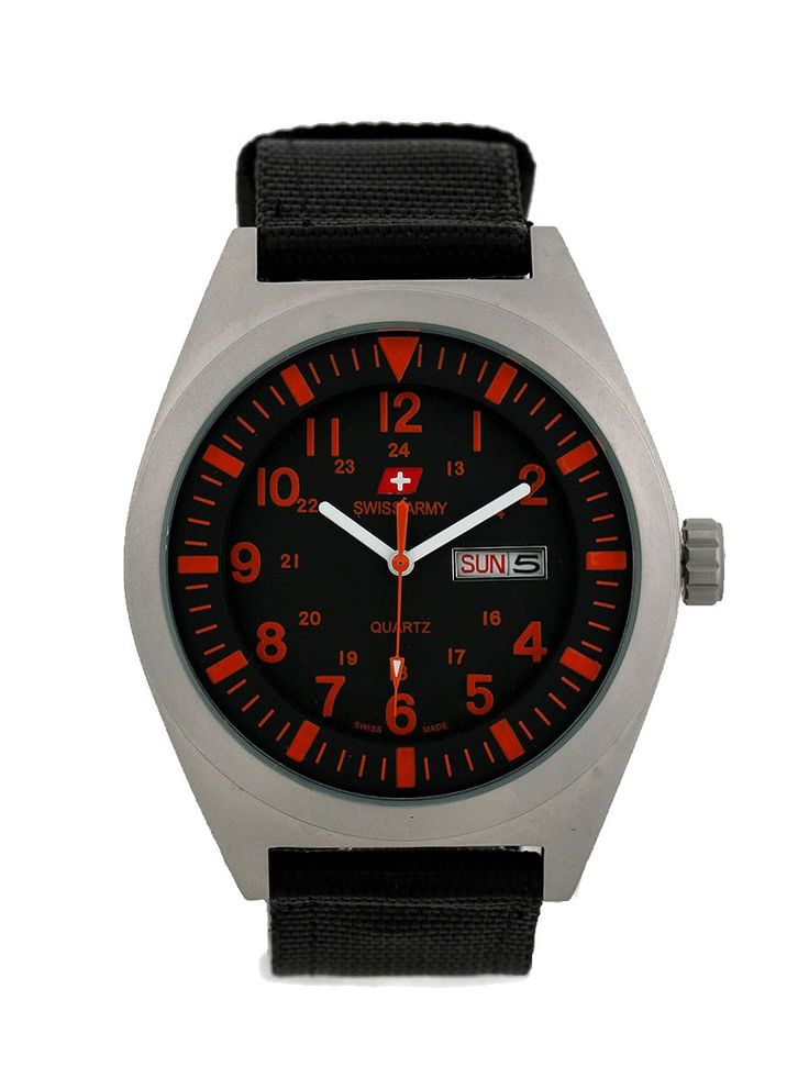 SA 8910 by Swiss Army. Masculine yet fashionable watch, stainless steel case and black canvas strap make this Analog watch look so fashionable, this masculine watch is water resistant, strap length 23 cm, diameter 4,5 cm.  %0A%0A http://www.zocko.com/z/JG0jq
