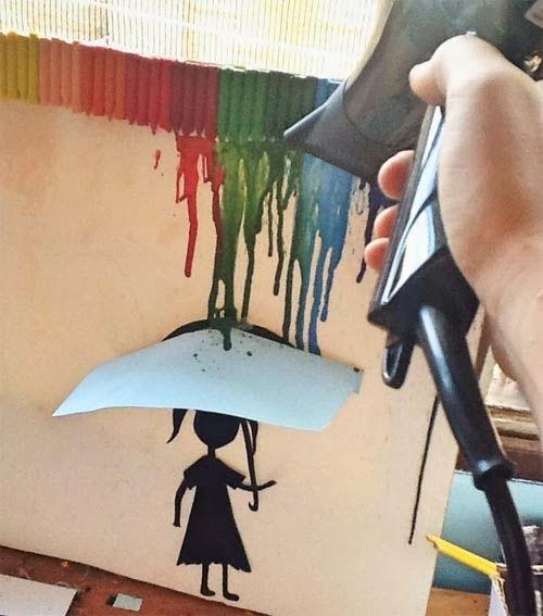 diy - como fazer quadro para decoração com giz de cera derretido