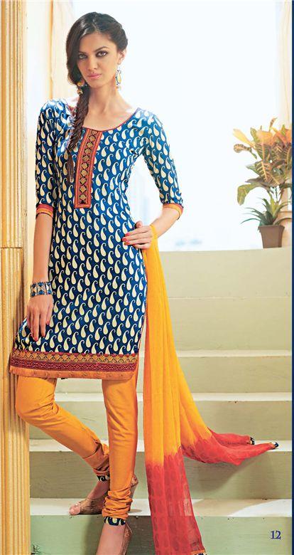 Brisk blue Cotton Salwar Suit with yellow chiffon dupatta
