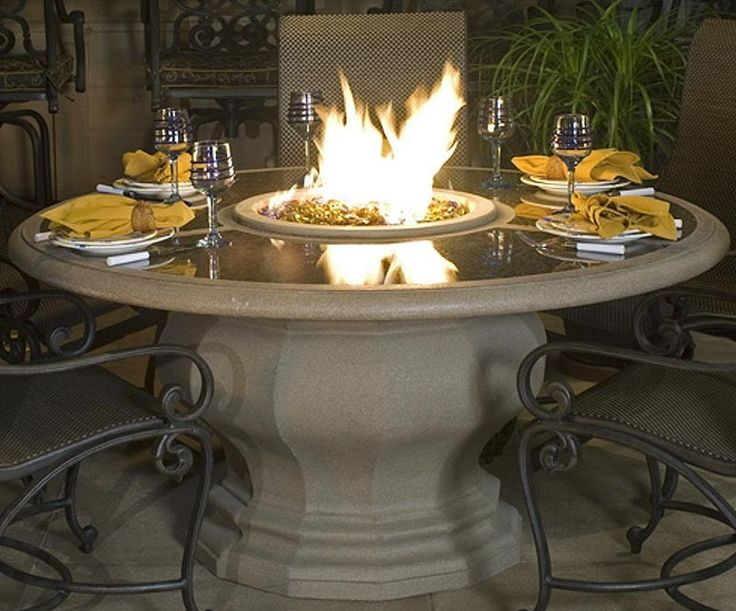 Fire Pit Dining Table With Shiny Top