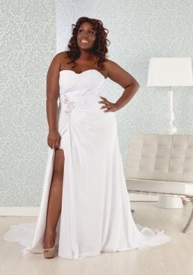Real Size Bride Penelope--plus Size Sexy Slit Sheath Wedding Dress