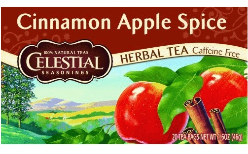 Celestial Seasoning Tea ~ Cinnamon Apple Spice, delicious!  This tea is like dessert all by itself.  Add a little honey to taste and sip in utter delight!  :)