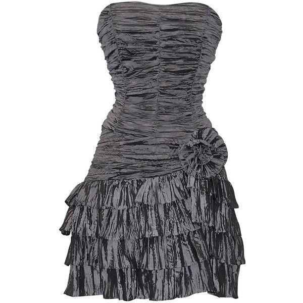 Crinkle Satin Strapless Ruffle Mini Dress
