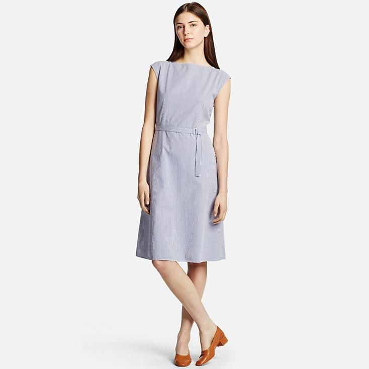 Lightweight, puckered seersucker makes this dress feel cool and comfortable when the weather is hot. A matching belt gives a slender silhouette to this sleeveless dress that hits below the knee. Pair it with a cardigan or jacket for different looks.