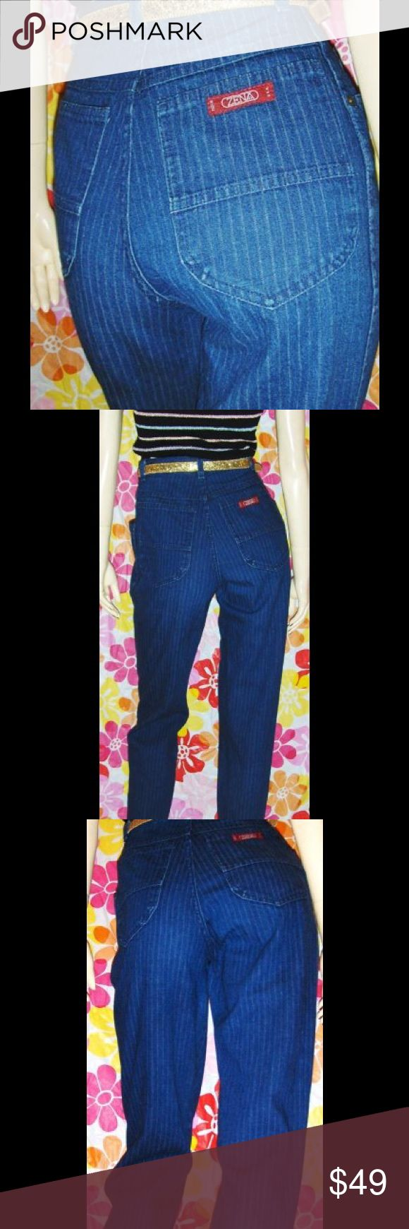 "VINTAGE 80s ZENA Hi-Waisted Denim DISCO JEANS ZENA... the must-have jeans for any 80's fashionista. These are in a blue denim pinstripe. High waisted fit, slim waist, cut fuller at hip & thigh, straight leg style. ZENA emblem on back pocket. Don't miss out on these RARE collectible classic 80's DISCO jeans!   DETAILS:   Size: N/A Fit like a Ladies S  Waist: 24 - 26"" at high Waist. Hips: 36""  Inseam: 30"" The rise is 12"".  Label: ZENA Fabric: Cotton Color: Dark blue  Vintage Condition: EX…"