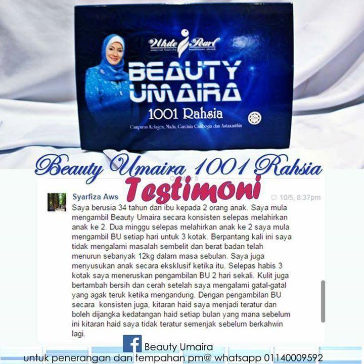 BEAUTY UMAIRA 1001 RAHSIA 21 SACHET/KOTAK  HARGA : RM200.00 (SM) RM210 (SS)  Apakah itu Beauty Umaira?  Terkenal sebagai pakej makanan tambahan yang membantu anda untuk kelihatan cantik dan menawan dari segi dalaman dan luaran.  BEAUTY UMAIRAmemberi kelebihan pada diri anda untuk membentuk kecantikan secara kekal dari dalaman dan melangsingkan badan anda.  Kandungan khasiat produknya juga menjadikan kulit anda halus dan gebu berseri dan bermaya walau tanpa make-up.  Pengambilan yang…