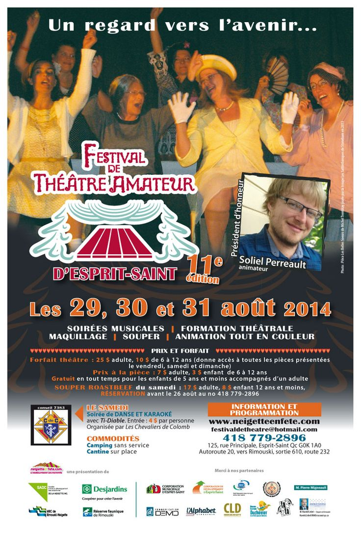 Festival de Théâtre amateur d'Esprit-Saint, les 29, 30 et 31 août 2014.