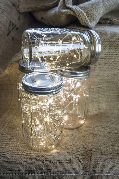 Mason Jar Fairy Lights mason jar lamps by BlissBridalWeddings