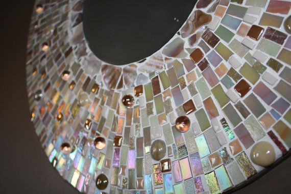Cream Irridescent Mosaic Mirror One of a Kind by CupcakeGirl127