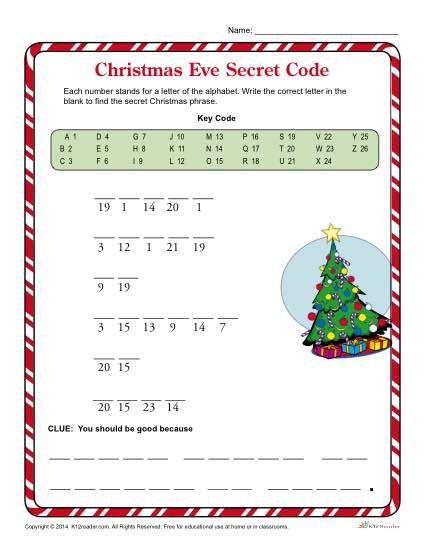 christmas eve secret code k12 christmas worksheets worksheets for kids worksheets. Black Bedroom Furniture Sets. Home Design Ideas