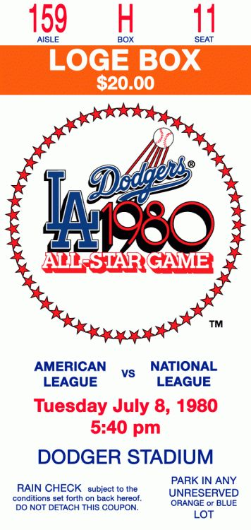 1977 all star game | MLB All-Star Game Ticket Stub (1980) - 1980 MLB All-Star Game at ...