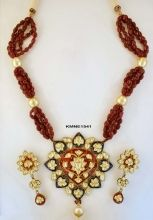 Blue & Red Meena Pendant with Earrings