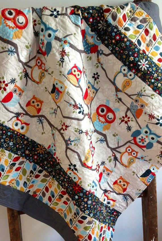 Baby Quilt, Gender Neutral, Owls, Modern, Scandinavian, Owls on Branches, Blue, Red, Gray, Orange, Green, Adornit Fabric on Etsy, $98.00